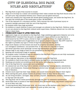 Glendora Dog Park Rules